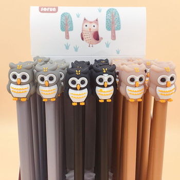 4 pcs lot 0 38 mm cartoon soldiers cactus gel ink pen promotional gift stationery school 2Pcs/lot 0.5 Mm Owl Collection Gel Pen Writing Signature School Office Supply Promotional Stationery Gift