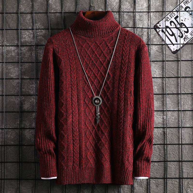 Long Sleeve Mens Sweaters Winter Red Grey Black Brown Turtleneck Casual Pullovers New Fashion Mens Sweater
