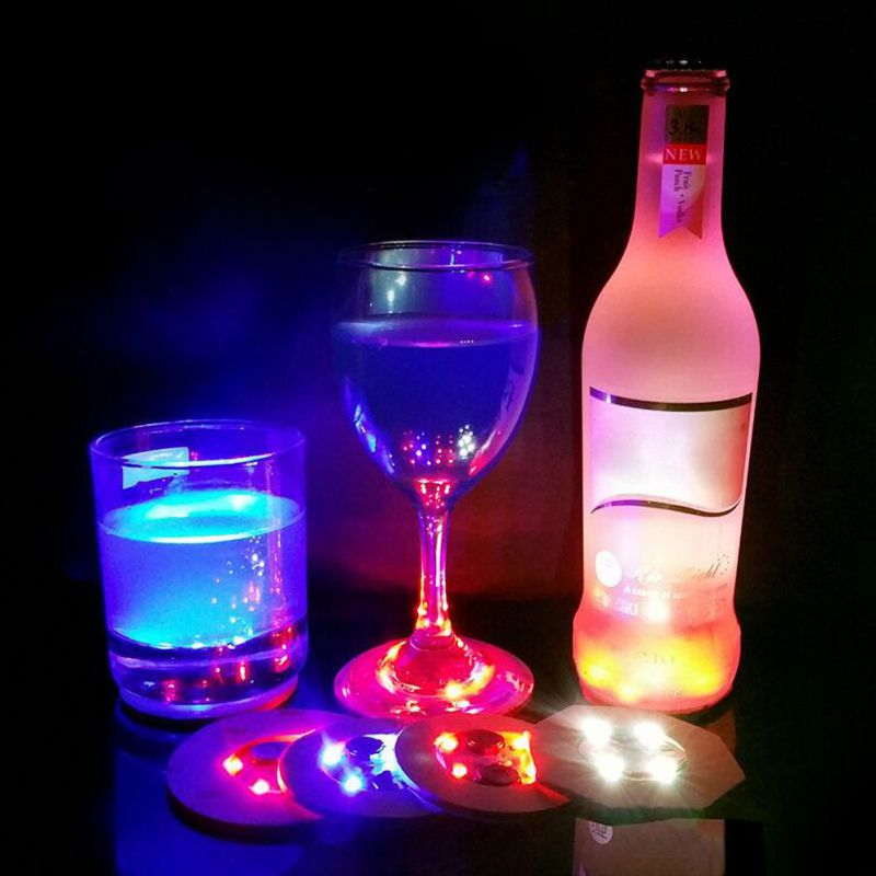 LED Bar Coaster, LED Stickers Light Up Bar Coasters For Drinks,For Party Wedding Bar Random Colour