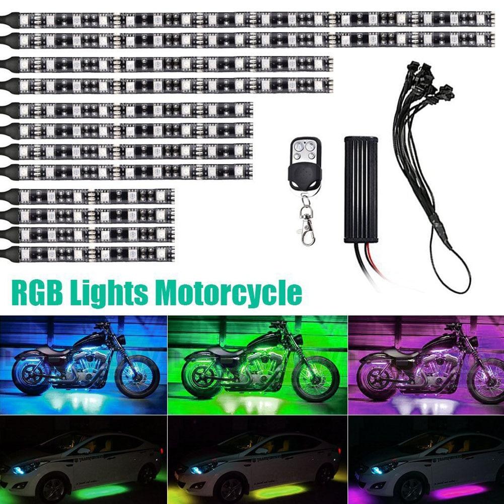 12pcs Motorcycle Atmosphere Waterproof Decorative LED Neon Under Walkway Light RGB Glow