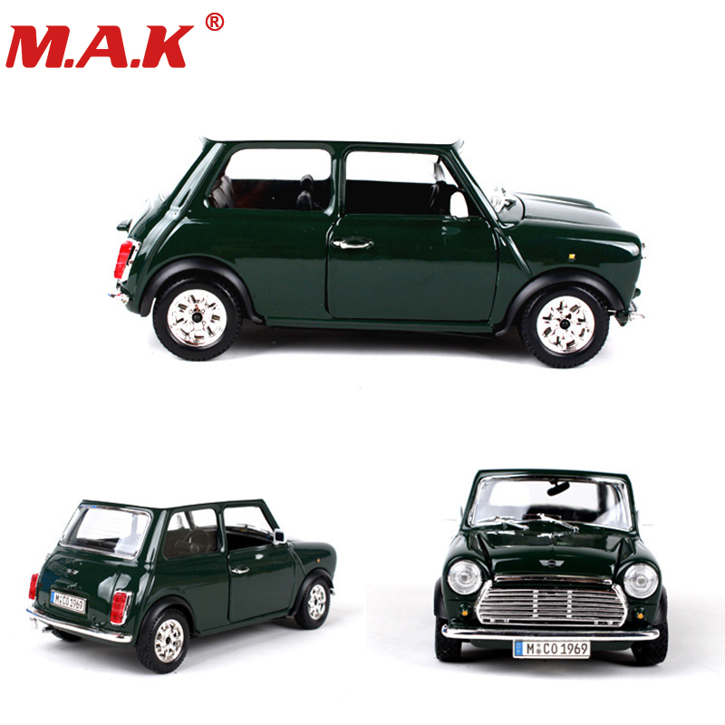 1:24 Diecast Car 1969 MINI COOPER Classic Vehicle Models Sport Cars Toys Red/green Color For Collectible