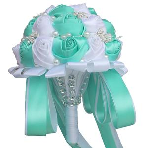 Image 2 - WifeLai חתונה פרחי כלה פרח זרי קריסטל שושבינה זר Buque Noiva סרט עלה מחזיק פרחים W224A 2