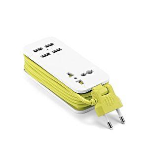 Портативная удлинительная лента с USB, европейская вилка для США, Великобритании, кабель 1,5 м, дорожное зарядное устройство для смартфонов