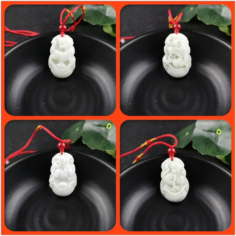 The Chinese Zodiac Carved Jade Pendant Necklace Charm Jewellery Fashion  Women  Accessories Lucky Amulet Gifts