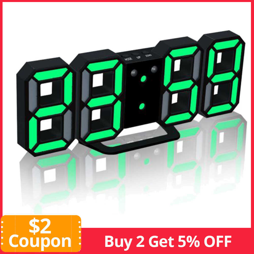 24/12 Hour Display Watch Alarm LED Digital Clock Wall Hanging 3D Table Clock Calendar Temperature Display Brightness Adjustable