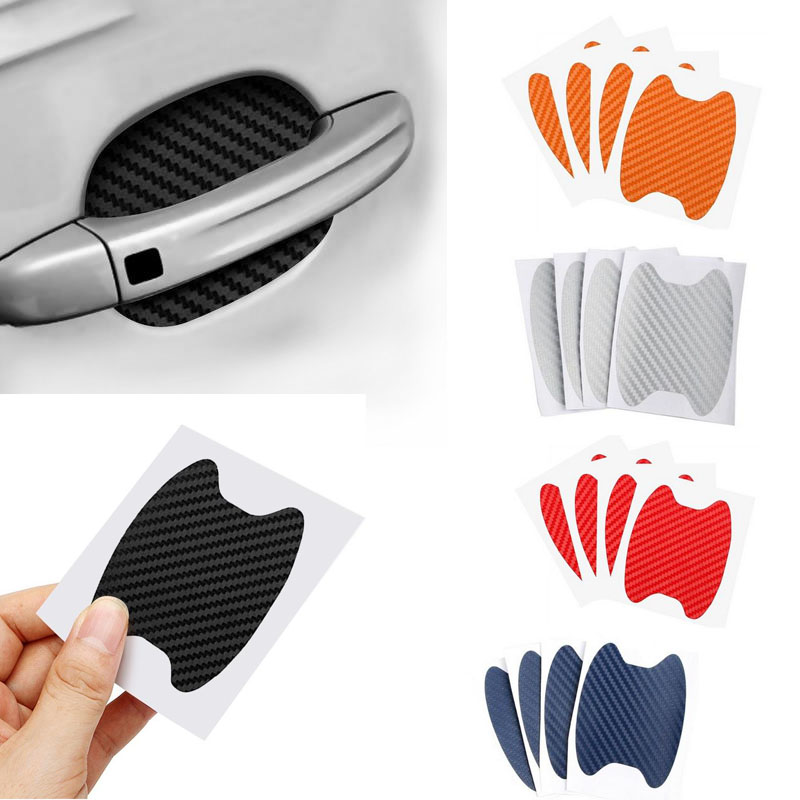 4Pcs/Set Car Door Sticker Carbon Fiber Scratches Resistant Cover Auto Handle Protection Film Exterior Styling Accessories ForCar