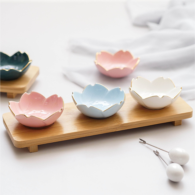 1 Piece Japanese Creative Cherry Ceramic Dish Soup Food Rice Bowl Ceramic Tableware Saucer Kitchen Dining Coffee Cup And Saucer 1