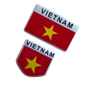 VIETNAM Flag Car-styling Car Stickers Aluminum Alloy VIETNAM National Flags Car Tail Window Fender Emblems Decorations image