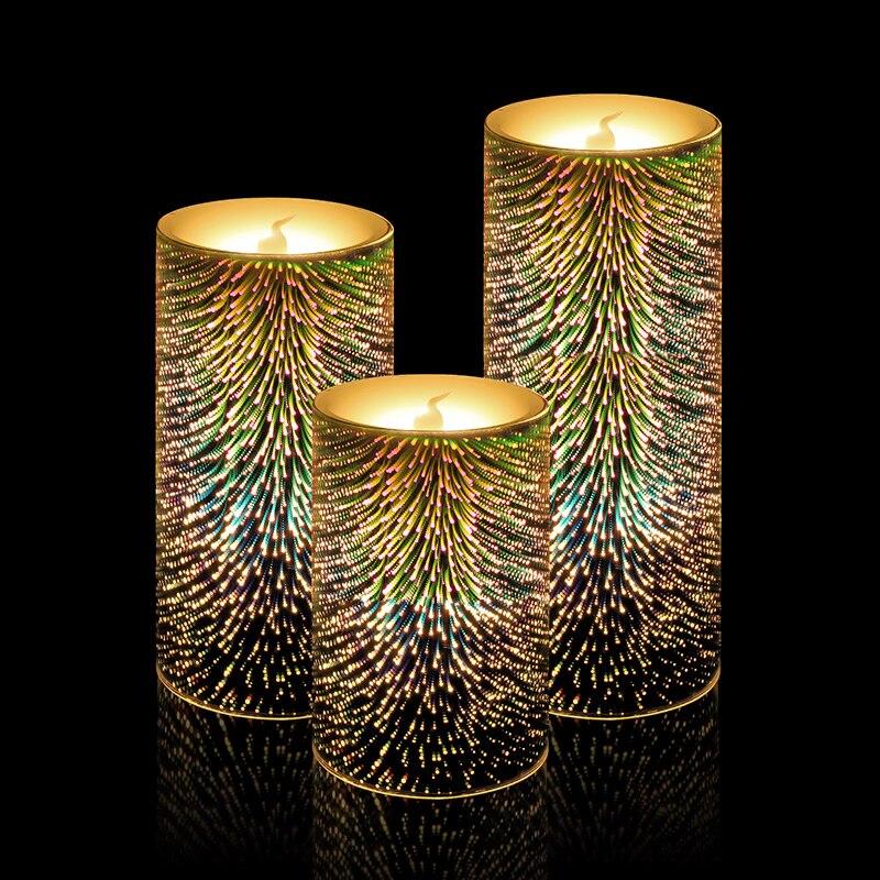 7 bougies changeantes de couleur sans flamme bougie de LED colorée bougie chauffe-plat électrique parfumée bougies de pilier de mariage de noël ALZ85