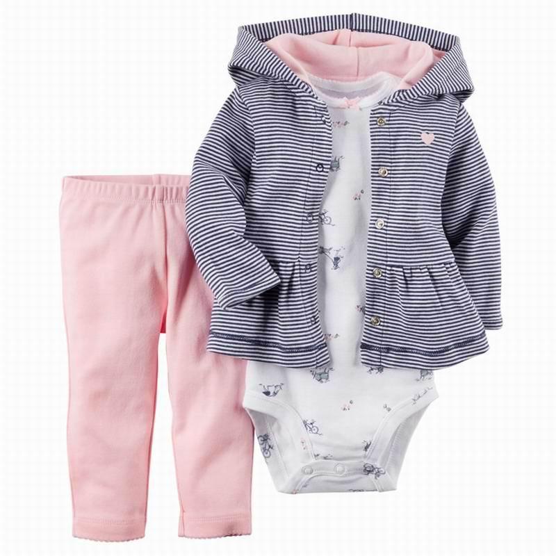 2020 комплекты для маленьких мальчиков и девочек комбинезон с длинными рукавами + пальто с капюшоном + штаны костюм из 3 предметов детская одежда E22358 3