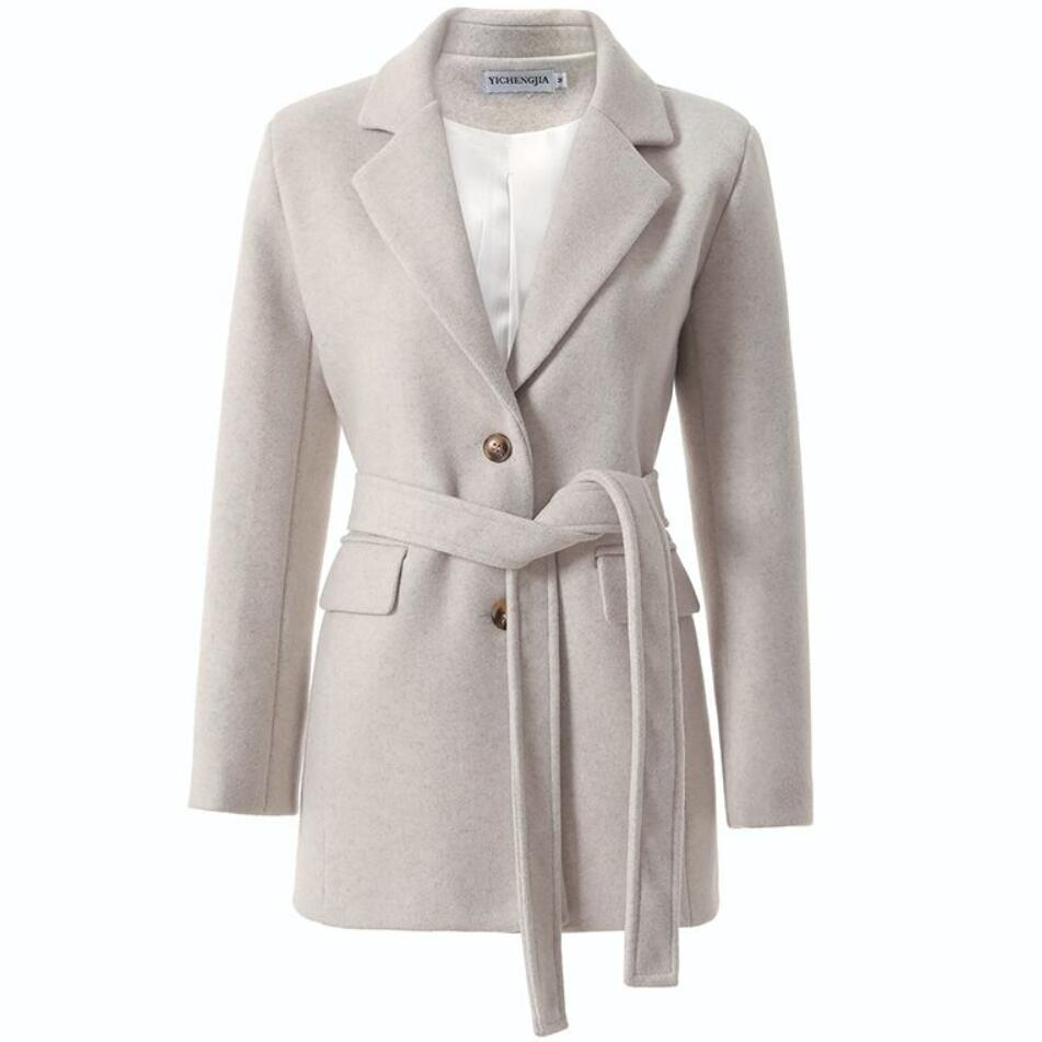 Autumn Winter Fashion Thick Ol Woolen Blazer Women Slim Belted Wool Blends Suit Jacket Plus Size 2XL