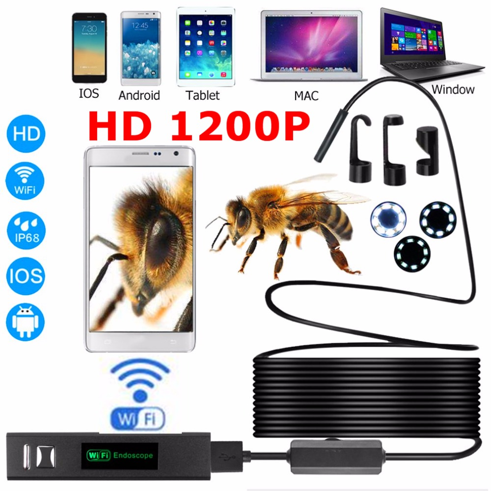 Wifi <font><b>Endoscope</b></font> HD <font><b>1200P</b></font> Adjustable 8 LED Wifi <font><b>Endoscope</b></font> Camera 8mm Hard Cable IP68 1M 2M 3.5M 5M <font><b>10M</b></font> For Android ios Borescope image