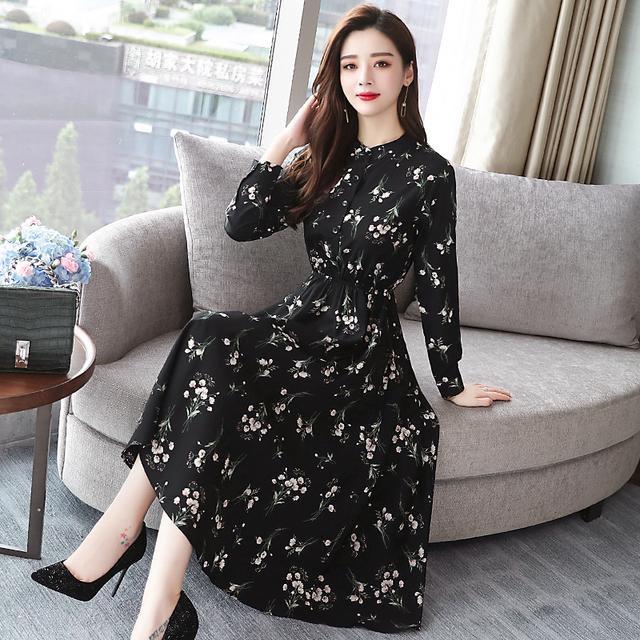 Autumn Winter Black Vintage Floral Chiffon Midi Dress Plus Size Boho Dresses 2019 Elegant Women Party Long Sleeve Dress Vestidos