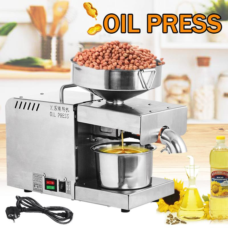 EU Plug Oil Press Machine 220V Small Business Equipment Machine Stainless Steel Oil Pressure Peanutss Sesame Nut Oil Extractor