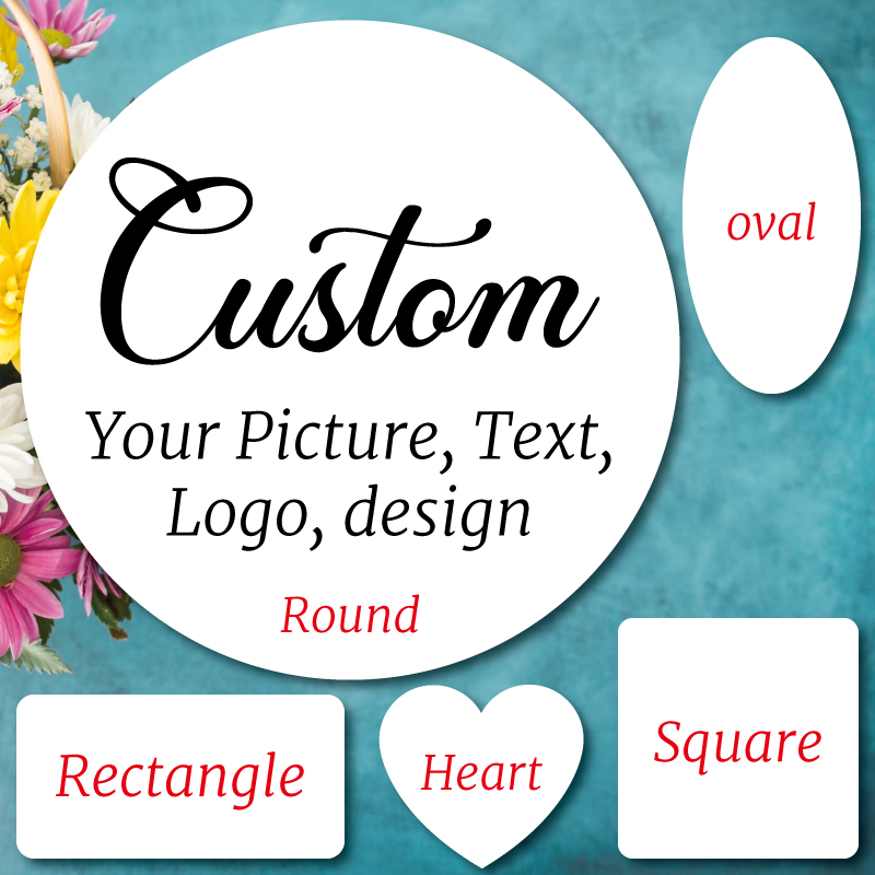 100 pcs, Custom Stickers, Personalised, Favors Boxes Labels, Logo, Photo, Wedding Stickers, Kraft, Clear