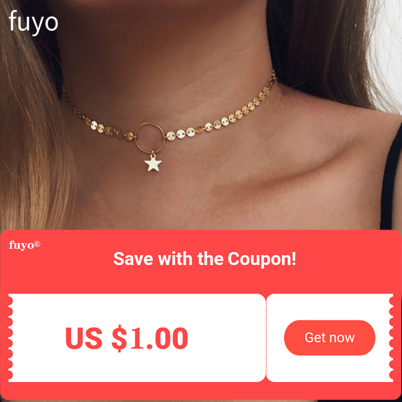 2019 New Gold Coin Disc Star Moon Chocker Necklace For Women Girl Choker Necklaces Pendants Wedding Jewelry Female Gift