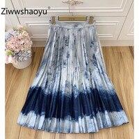 Ziwwshaoyu 2020 Designer Fashion Summer Blue Ombre Denim Pleated High Waist Long Skirt Women's High Quality Clothing