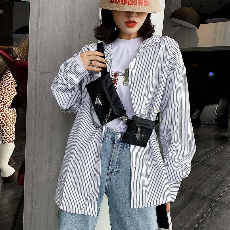 2 Women's Waist Bag Hip Hop Men's Belt Bags Chain Crossbody Chest Bag Designer Luxury Fashion Fanny Pack Square Nylon Hip Purse