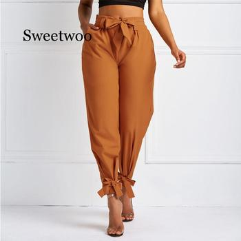 Women Summer Harem Pants with Waist Belt Bowtie Solid Trousers Ladies Casual Fashion Middle Girls Street Clothing