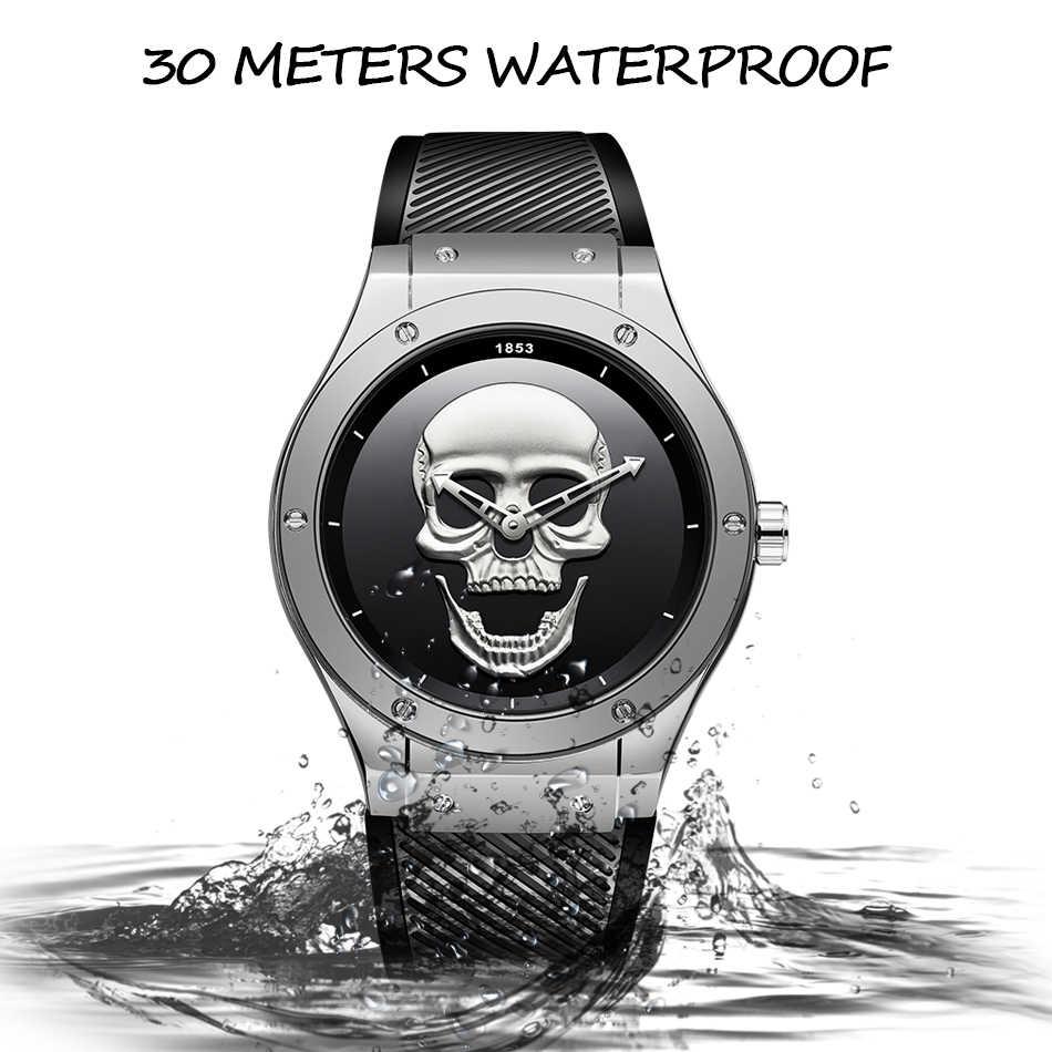 2019 ליגע חדש אופנה Mens שעונים גולגולת למעלה מותג יוקרה סיליקה ג 'ל שעון גברים קוורץ עמיד למים שעונים Relogio Masculino