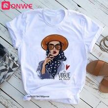 Женская модная женская футболка Повседневная белая в стиле Харадзюку