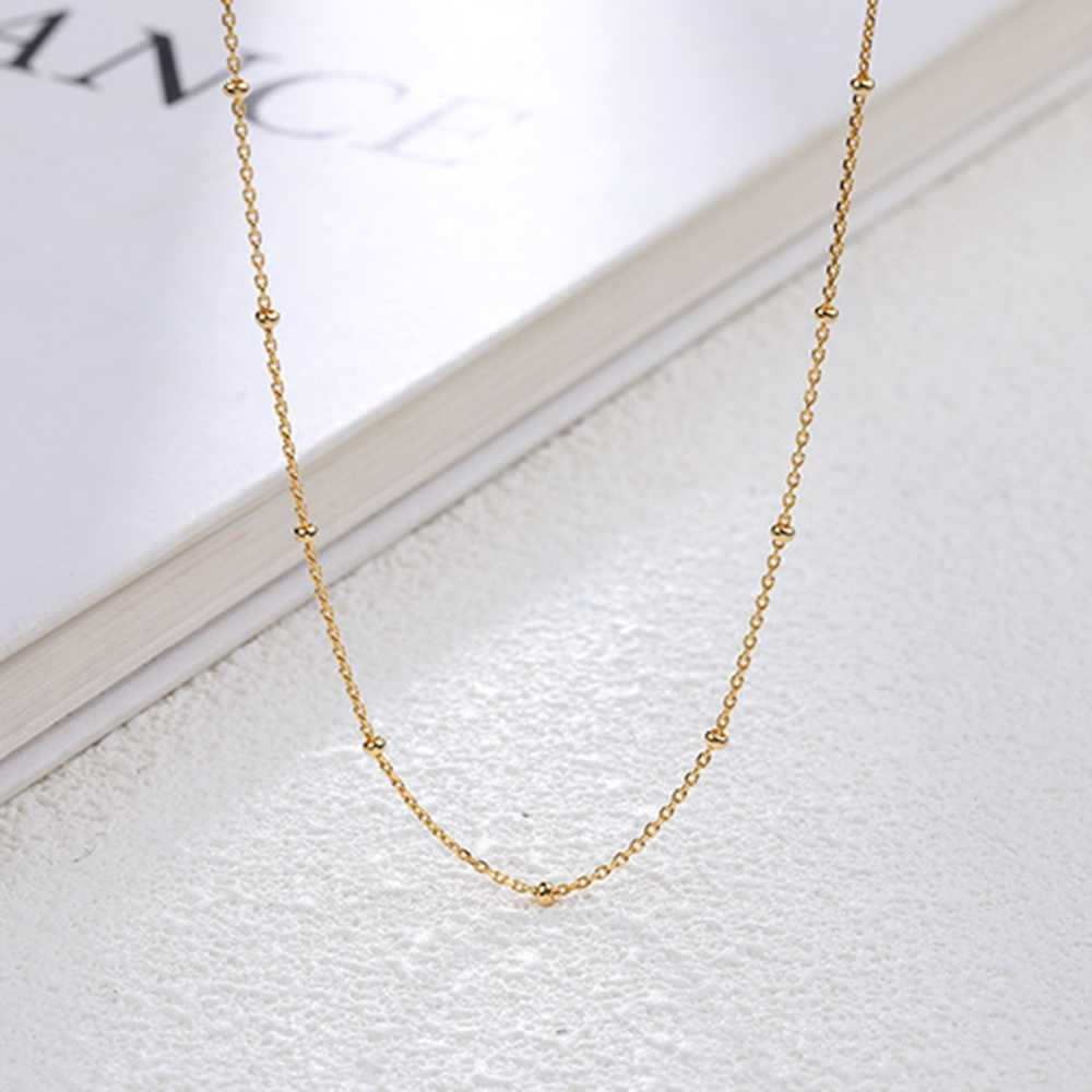 Delicate 925 Sterling Silver Golden Satellite Chain Necklace Minimalist Choker Chain Jewelry Summer Gift for Teen Girls Women