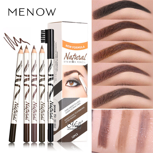 Menow 1pc eyebrow Waterproof Black Brown Eyebrow Tattoo Pencil Long-lasting Eyebrow Enhancer with Brush Makeup Cosmetic Tools
