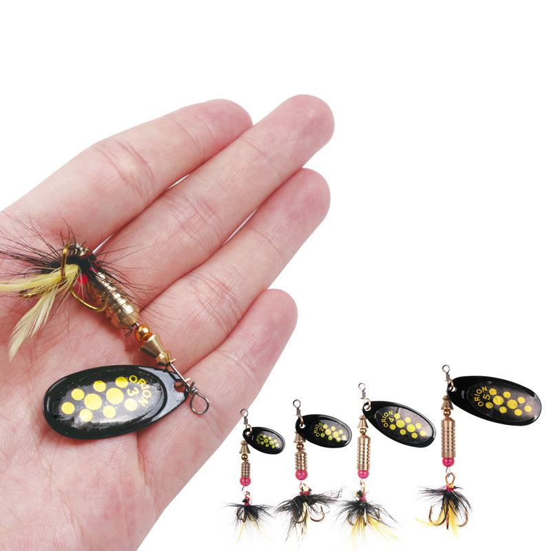 1PC Fishing Lures Wobbler Trout Spoon Metal Spinners Baits For Jig Fly Fishing Baits Sea Hard Lures With Feather Swimbait Hooks