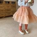Новинка 2021, весенние юбки-пачки для маленьких девочек, однотонное бальное платье из органзы в Корейском стиле, детская юбка принцессы