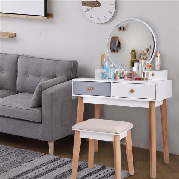 Dresser With Mirror Bedroom Light Luxury Real Wood Dressing Table Simple Makeup Table With Lamp Three Color Adjustable 6
