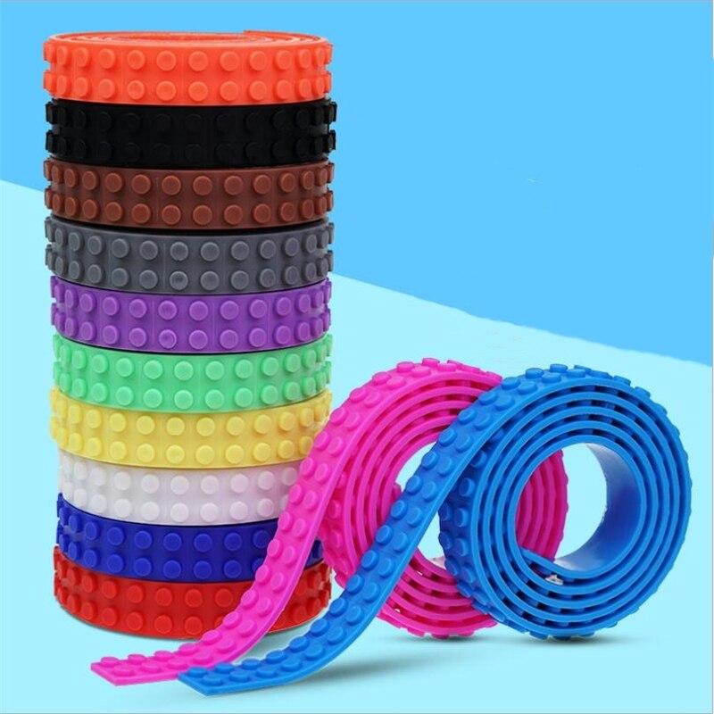 Blocos de construção fita 100cm 2x115 pontos tira base brinquedo flexível dobrável macio crianças adultos diy construção plástico loops fita adesiva