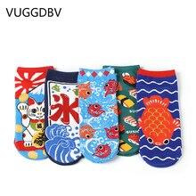 popsocket invisible socks stopki skarpetki damskie calcetines cortos Lucky cat lady boat harajuku cartoon womens short