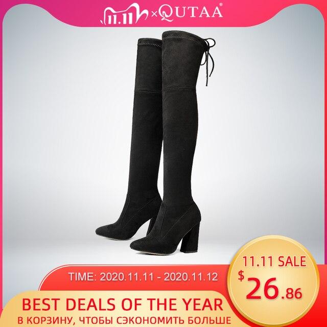 QUTAA 2020 yeni akın deri kadın diz üzerinde çizmeler Lace Up seksi yüksek topuklu sonbahar kadın ayakkabı kış kadın çizmeler boyutu 34 43