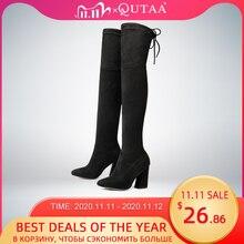 Женские сапоги из флока QUTAA, Черные Сапоги выше колена на высоком каблуке, на шнуровке, зимние сапоги, размеры 34 43, для осени и зимы, 2020
