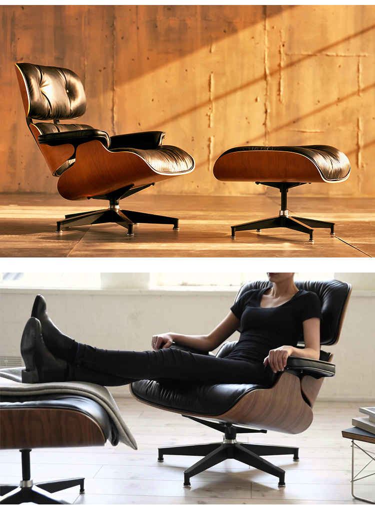 Classic Lounge Chair with Ottoman, Real Leather Swivel Sofa Furniture for Living Room Hotel, Home Office Desk Chairs