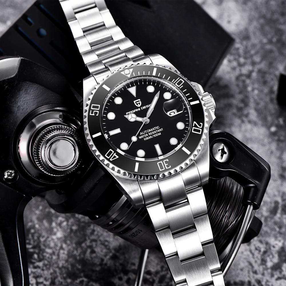 PAGANI Design Brand Luxury Men Watches Automatic Black Watch Men Stainless Steel Waterproof Business Sport Mechanical Wristwatch|Mechanical Watches| |  - title=