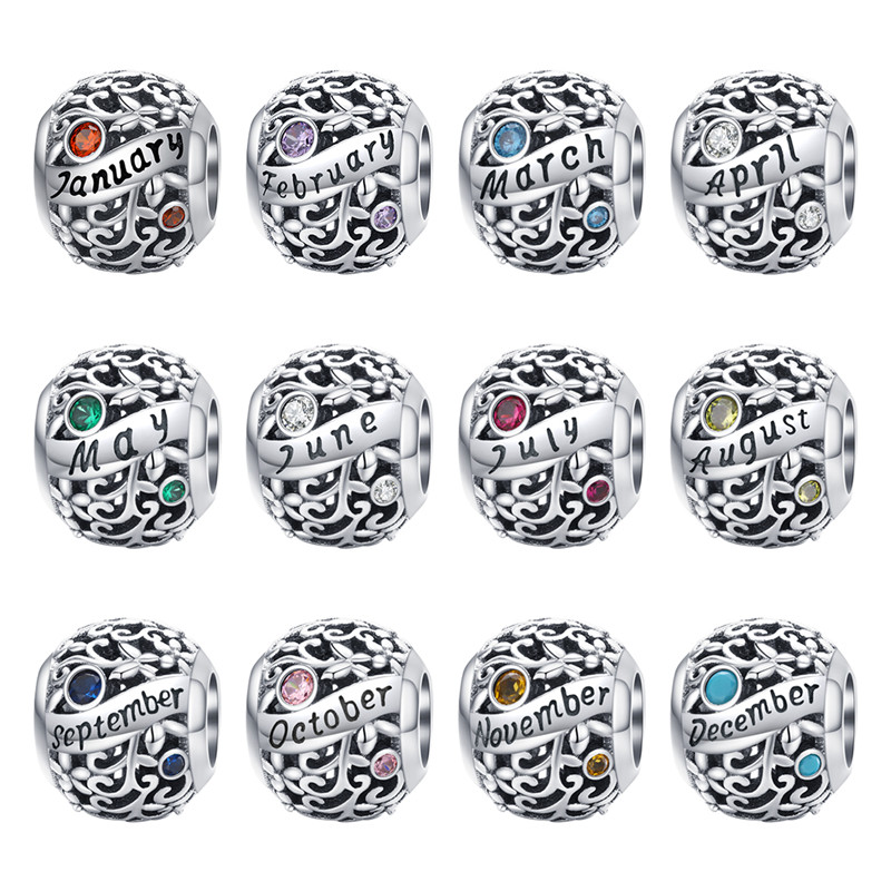 fit Pandora Bracelet Silver 925 Original Round CZ Birthday Beads S925 Birth Month English Letter DIY Charms for Jewelry Making(China)