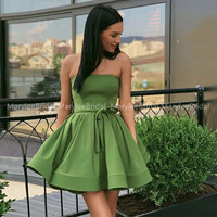 Lovely Jade Green Homecoming Dress Strapless A line Simple Satin Short Mini Homecoming Cocktail Party Dress With Bow Sash