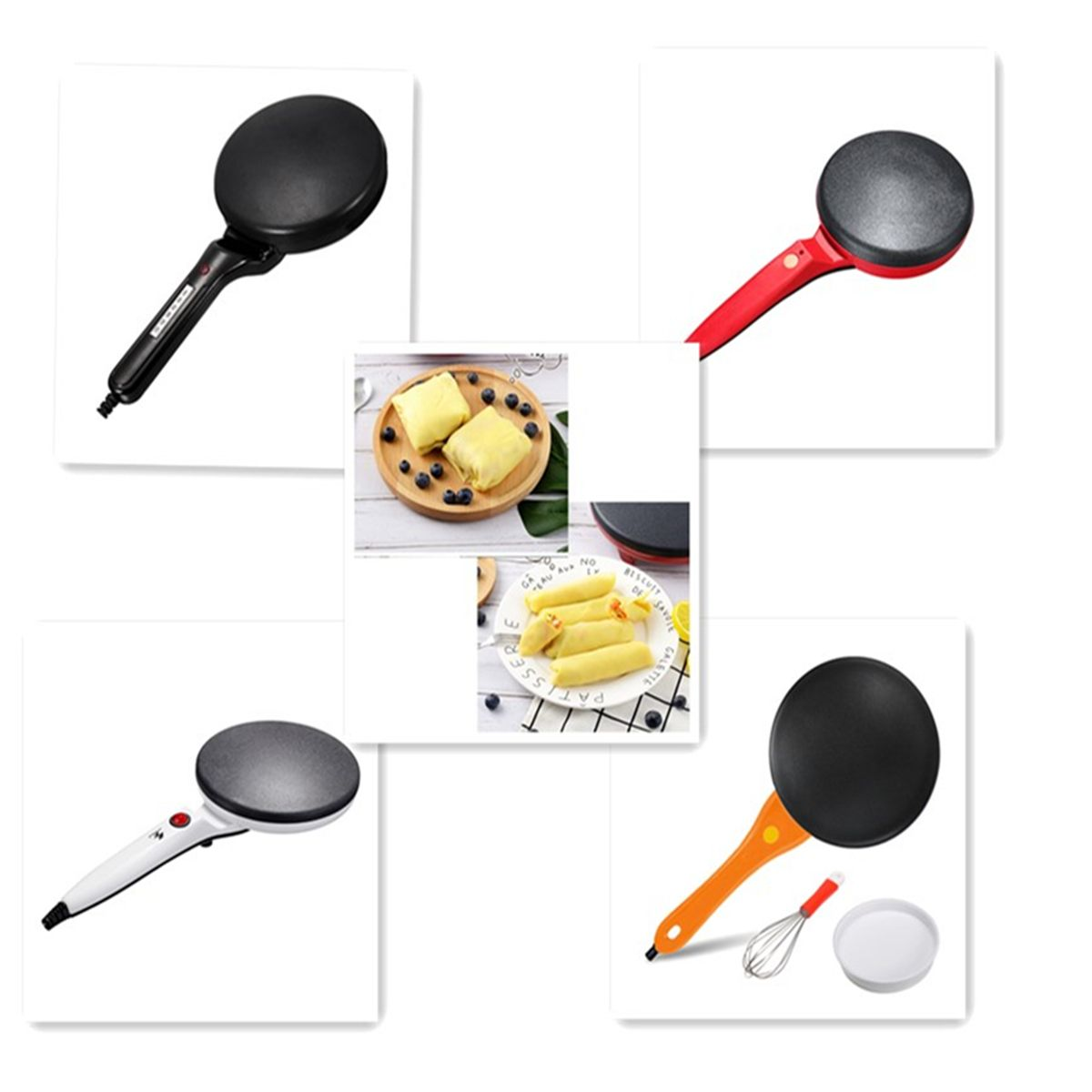 220V Non-stick <font><b>Electric</b></font> Crepe Pizza Maker Pancake Machine Non-stick Griddle <font><b>Baking</b></font> <font><b>Pan</b></font> Cake Machine Kitchen Cooking Tools Crepe image