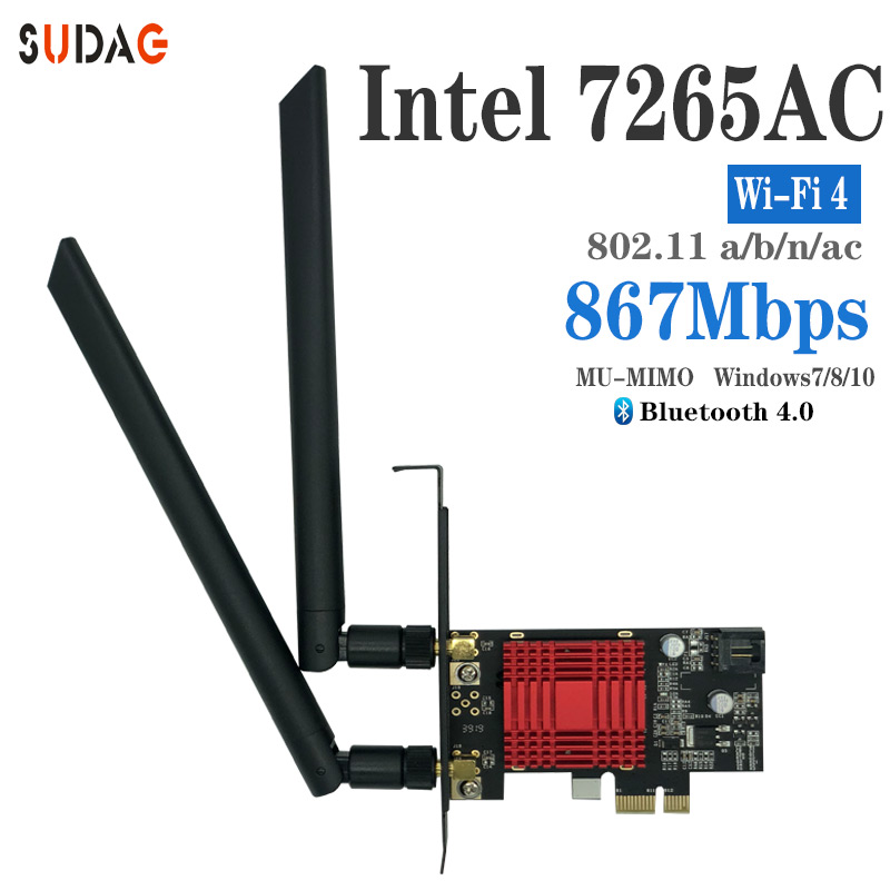 SUDAG Wireless-AC 7265 802.11ac 867Mbps + 300Mbps PCI Express Desktop WiFi Adapter Bluetooth 4.0 For Intel 7265AC PC Wifi Card