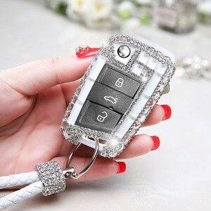 Moda diament kryształ kluczyki zdalnego skrzynki pokrywa dla Volkswagen VW Golf 7 mk7 Seat Ibiza Leon FR2 Altea Aztec dla Skoda Octavia
