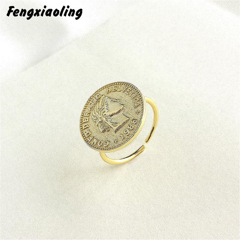 Fengxiaoling Really 925 Sterling Silver Golden Silver Coin Portrait Open Rings For Women European Style Round Rings Jewelry