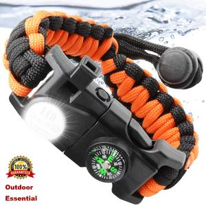 Outdoor Survival Paracord Survive Bracelet Camp Equipment Emergency Multi Tool Braided Pulseras Rescue Rope SOS Flash Wristband