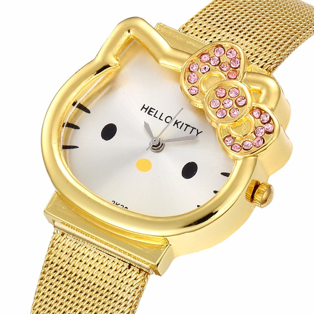 Watch Women Luxury Fashion Lady Girl Silver Stainless Steel Net Band Cute Wristwatch Crystal Hour Gold