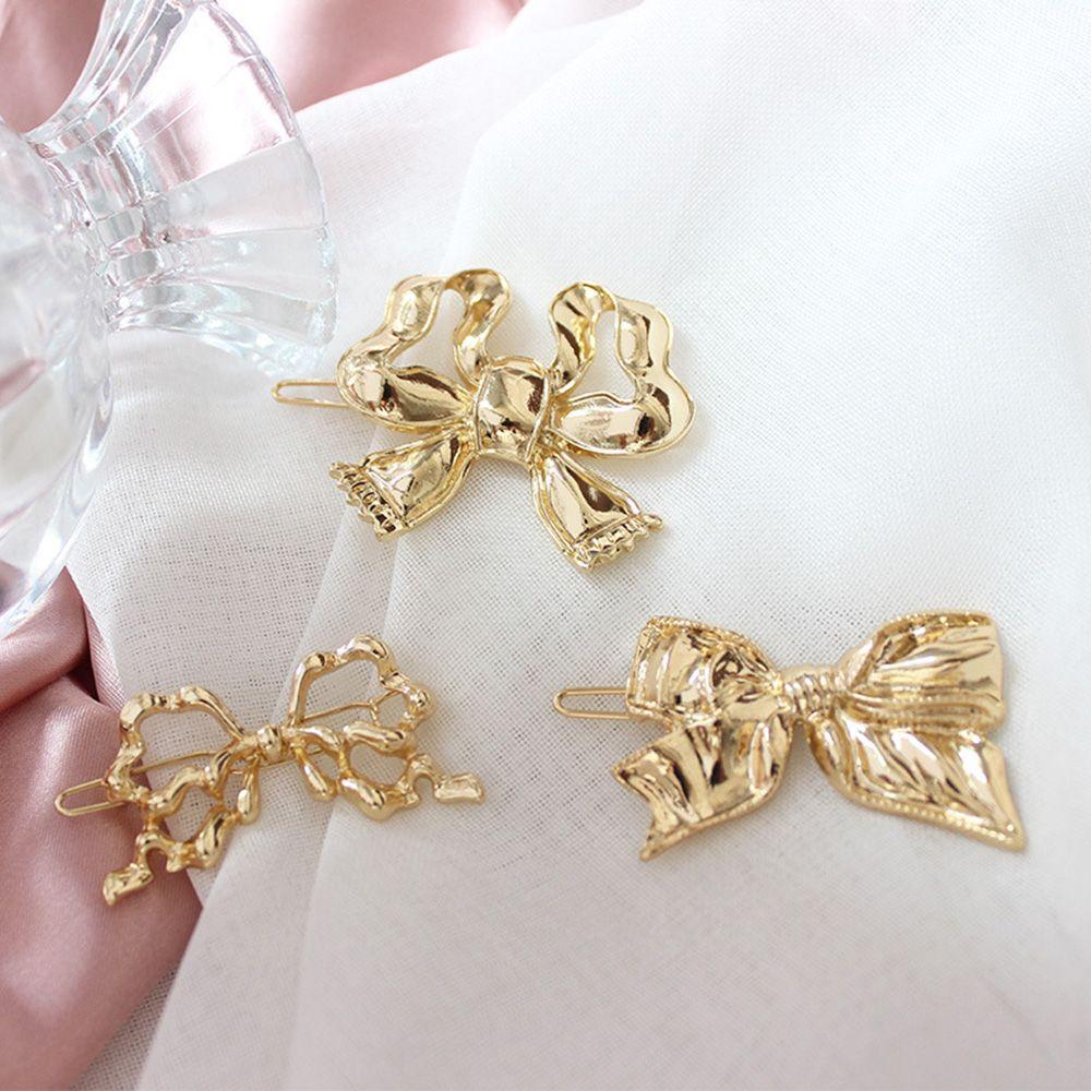 2021 Fashionvintage horquillas de Metal arco nudo hueco el pelo para las niñas y las mujeres Metal dorado Clip de pelo horquillas accesorios pelo