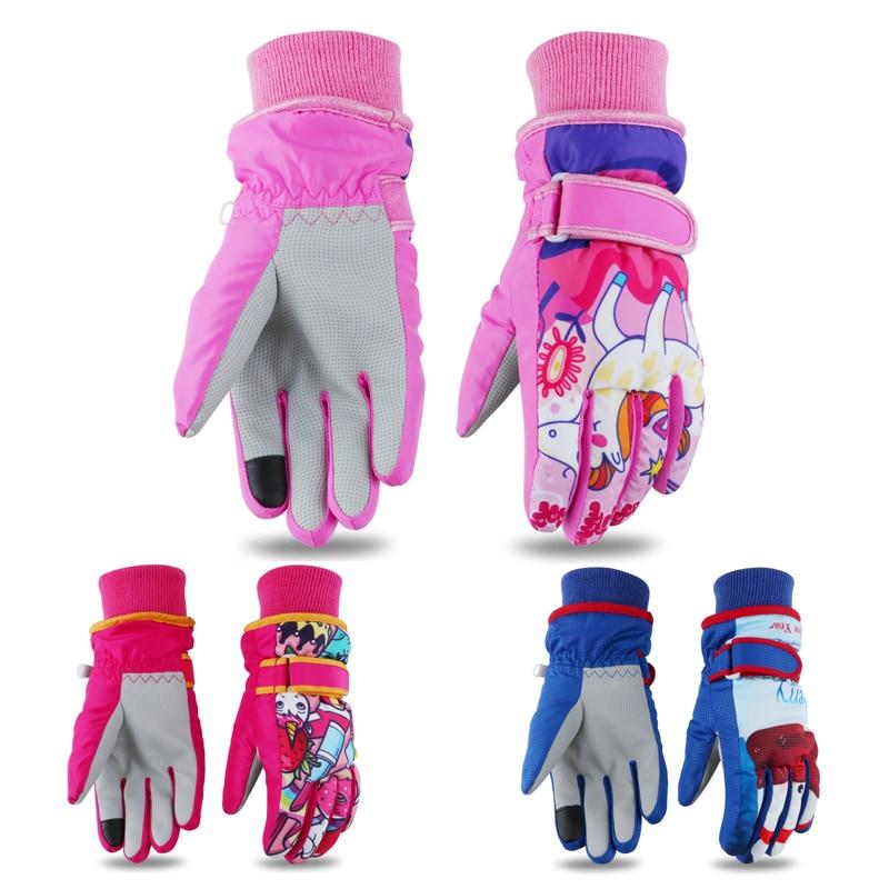 Детские варежки для мальчиков и девочек, зимние теплые водонепроницаемые ветрозащитные плотные лыжные перчатки с мультипликационным рису...