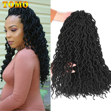 TOMO 24 Strands Curly Crochet Hair Twist Braids Faux Locs Hair Extensions 18Inch Synthetic Braiding Hair 1-10 Packs Red Brown