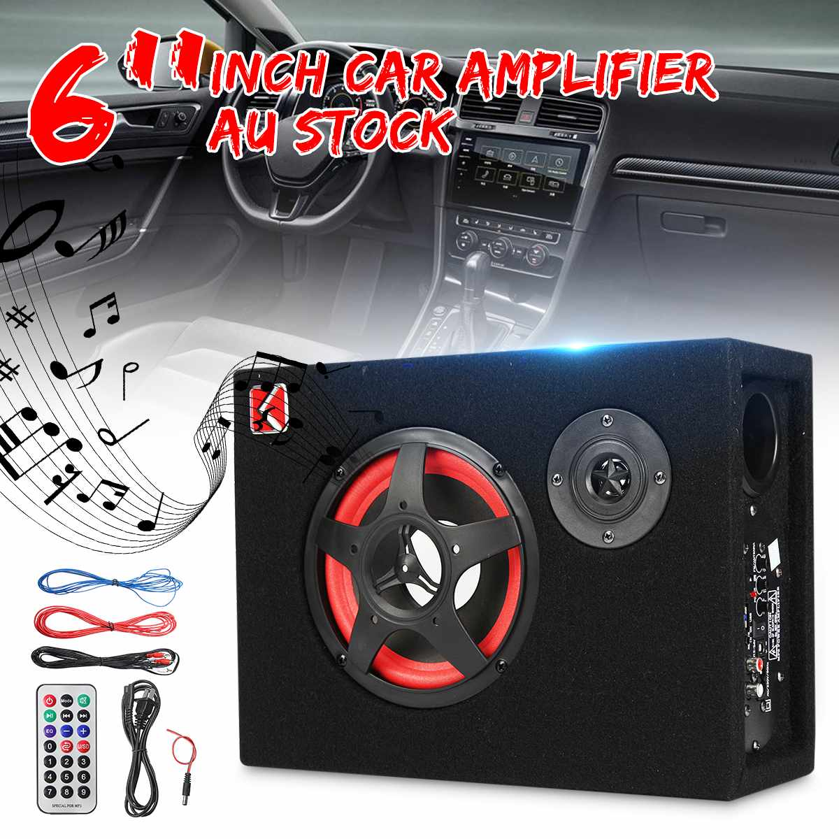 350W Speaker Audio Stereo Bass Under Seat Active Car Subwoofer Powerful 4oHm 6 Inch Card Car Seat Power Car 12V 24V 220V Speaker
