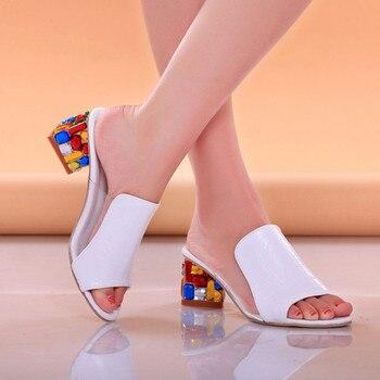 Lucyever Women Fashion Summer Crystal Sandals Rhinestone Heels Open Toe Shoes Woman Colorful Ladies Beach Flip Flops Slides
