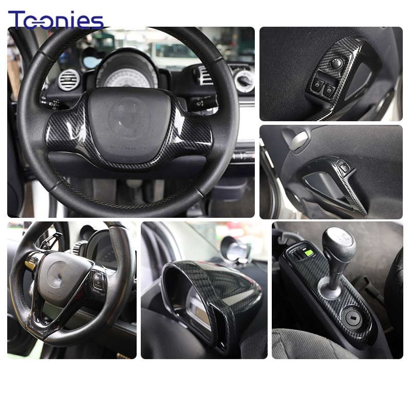 Car Carbon Style Modified Decorative Stickers For Old Mercedes-Benz Smart 451 Fortwo Auto Parts Interior And Exterior Decoration